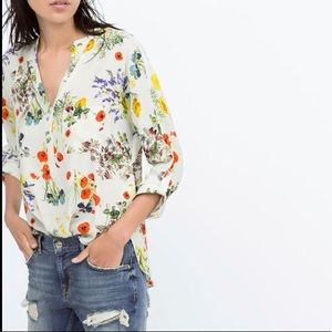 Zara Floral High Low Mandarin Collar Blouse